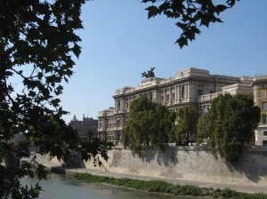 Seat of Italy's highest court, viewed from the Tevere on a Sunday afternoon.