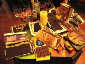 The full table: Swedish, Austrian, Tunisian, French, American, Italian, Swiss and Dutch chocolates